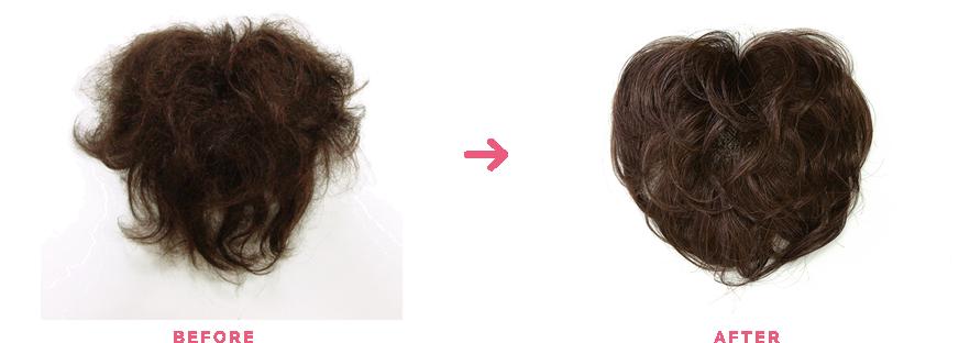 ウィッグクリーニング前と後の写真